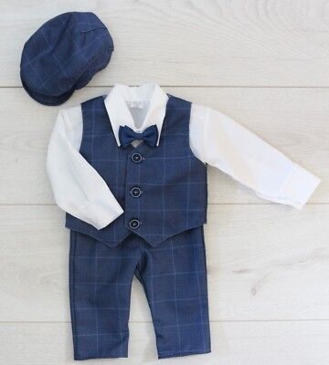 $34.31 • Buy Baby Boy Suit Gentleman Navy Outfit Smart Party Birthday Baptism Christmas