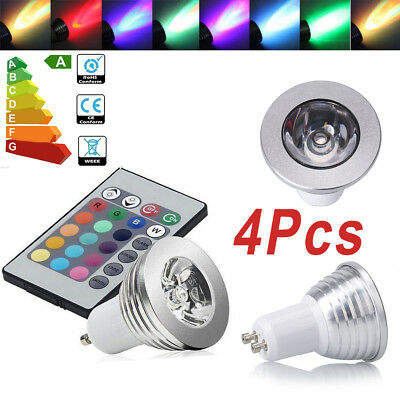 12 X GU10 4W 16 Color Changing RGB Dimmable LED Light Bulbs Lamp RC Remote Spot • 10.98£
