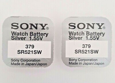 2 Sony 379 Battery Batteries Sr521sw Silver Oxide Watch Coin Cell • 2.29£