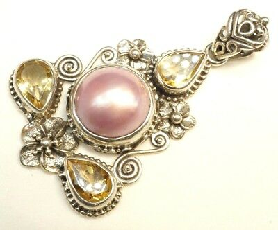 $54.99 • Buy Indonesia / Pink Mabe Blister Pearl Citrine / Sterling Pendant / SZ: 2 (9.9g)