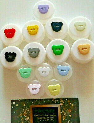 Novelty Bear Heads Shape 2 Hole Buttons 15mm Baby / Children In 14 Colours • 3.79£
