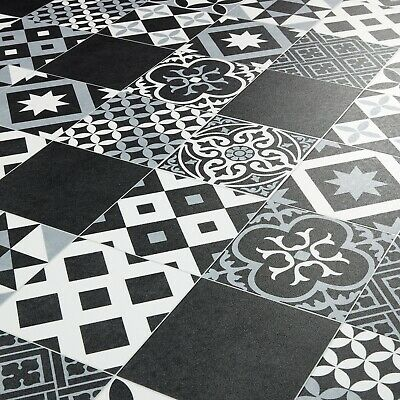 Moroccan Tile Effect Vinyl Flooring Sheet Black & Grey Cushioned Kitchen Lino • 38.97£