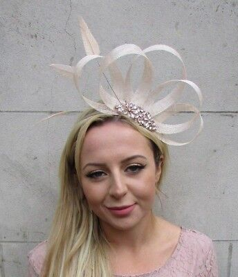 Champagne Cream Rose Gold Silver Feather Fascinator Sinamay Hair Races Hat 6332 • 23.95£