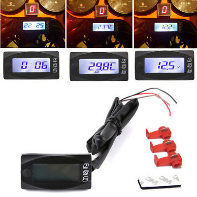 $27.68 • Buy Universal Motorcycle Digital Temperature Gauge Thermometer Voltmeter Time Watch