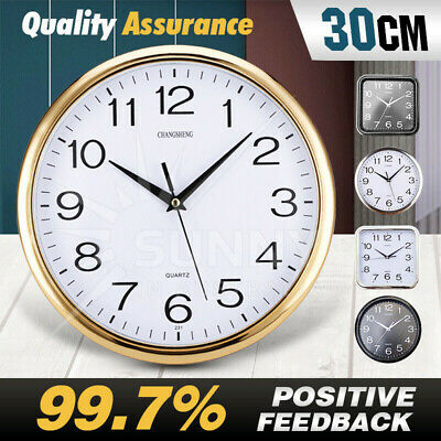 AU16.82 • Buy Wall Clock Quartz Round Wall Clock Silent Non Ticking Battery Operated 12 Inch