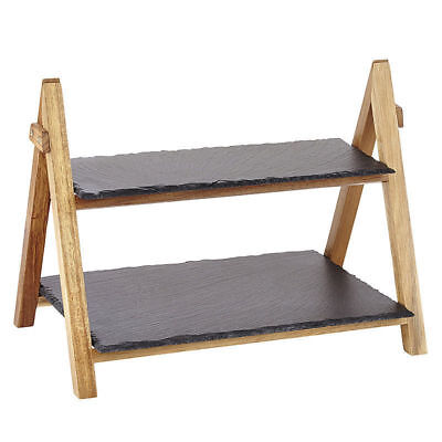 £16.99 • Buy 2 Tier Rack Slate Boards Bamboo Tapas Sushi Food Serving Tray Platter Cake Stand