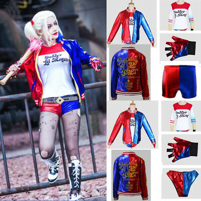 £15.87 • Buy 4Pcs/Sets Womens Suicide Squad Harley Quinn Cosplay Costume Outfits Fancy Dress