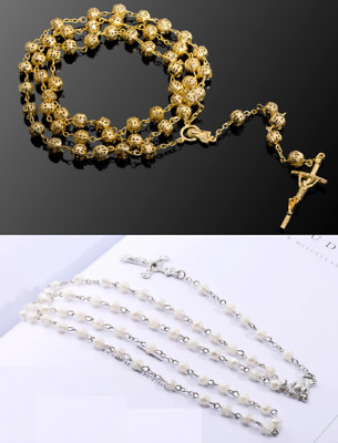 First Holy Communion Rosary Beads Rosaries Catholic Prayer Necklace UK Seller • 5.39£