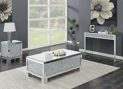 $599.99 • Buy Modern Contemporary Mirrored Cocktail Sofa End Coffee Table Set Acrylic Crystal