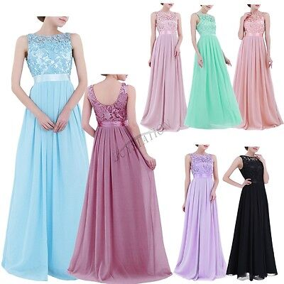 £26.35 • Buy UK_Wome's Formal Lace Long Dress Prom Evening Party Cocktail Bridesmaid Wedding