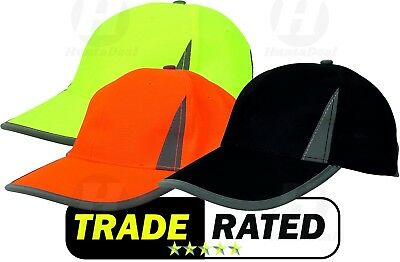 Hi Viz High Visibility Neon Reflective Baseball Cap Fluorescent Safety Hat New • 5.59£
