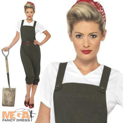 Land Girl Fancy Dress British History 1940s Ladies Costume Army Outfit UK 8-16 • 31.99£