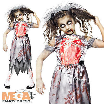 Zombie Bride Girls Halloween Fancy Dress Fairytale Horror Kids Childrens Costume • 14.99£