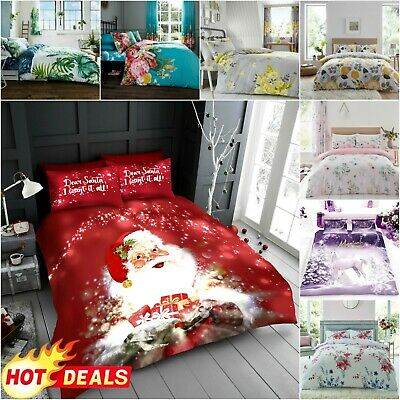 PRINTED DUVET COVER Reversible Quilt Soft Bedding Set Easy Care Double Size • 10.99£