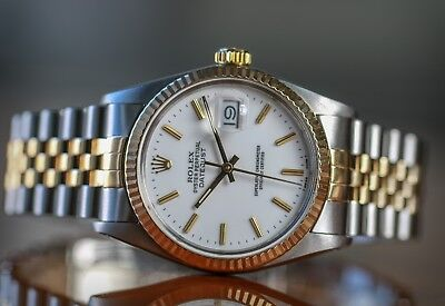 $ CDN8456.46 • Buy Authentic Rolex Mens Datejust 16013 Two-tone White Dial Fluted Bezel  36mm Watch