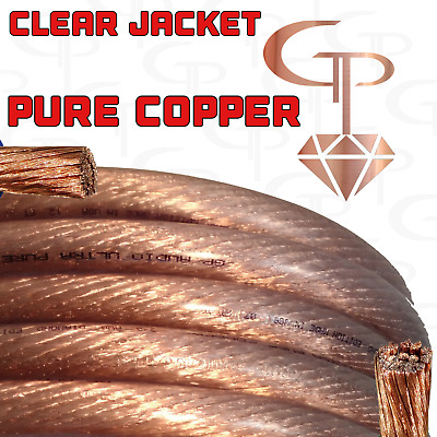 $89.99 • Buy 20 Ft TRUE AWG 1/0 Gauge OFC COPPER Power Wire CLEAR Ground Cable GP Car Audio