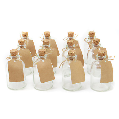 £11.99 • Buy Set Of 12 Mini Glass Bottles Perfect For Wedding Favours & Decoration M&W