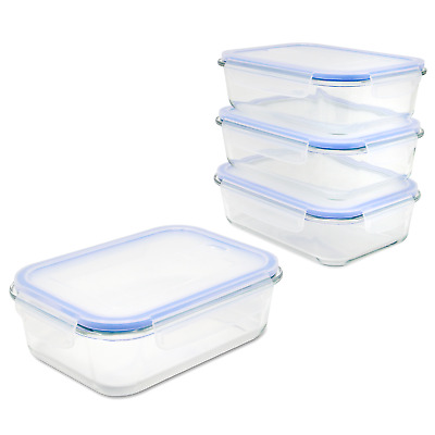 £20.49 • Buy Airtight Food Storage Container 4x Glass Tubs With Snap Locking Lids M&W