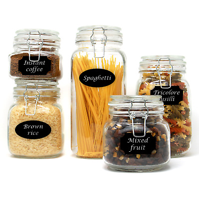 Set Of 5 Clip Top Glass Storage Jars Airtight Vintage Kitchen Containers M&W • 17.49£