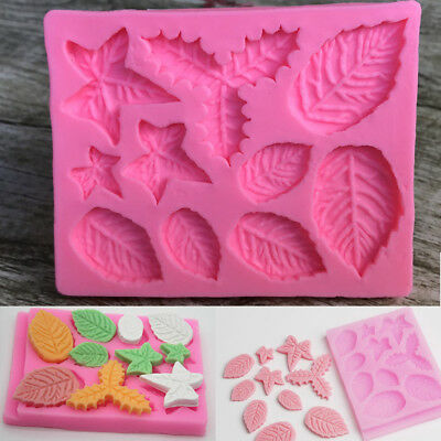 Holly Leave Silicone Fondant Mould Cake Tree Flowers Leaf Decorating Baking Mold • 3.25£