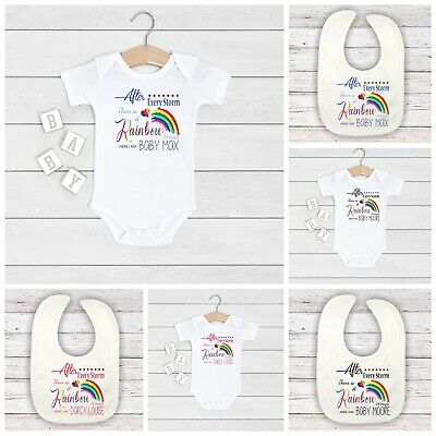 Personalised Baby After Every Storm Rainbow Of Hope Here BOY GIRL BIB VEST Gift • 5.99£