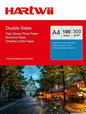 £13.49 • Buy 100Sheets A4 300Gsm Double Sided Thick Glossy Photo Paper Inkjet Paper Hartwii