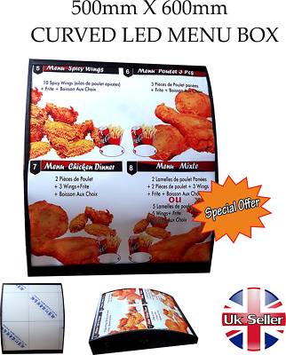 LED Curved Menu Box + Back_lit Photo Restaurant Take Away High Quality • 165£