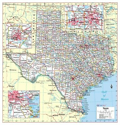 AU20.98 • Buy Cool Owl Maps Texas State Wall Map Poster - Paper 24 X25