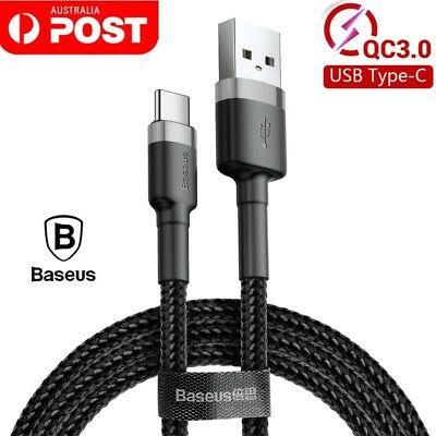 AU9.49 • Buy BASEUS 0.5M 1M 2M USB Type-C QC3.0A Fast Charger Charging Data Sync Cable Cord
