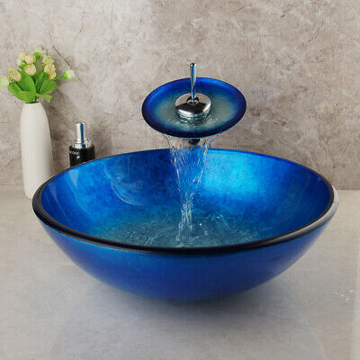 £132 • Buy Round Blue Washing Tempered Glass Basin Bowl Sink Waterfall Chrome Brass Faucet