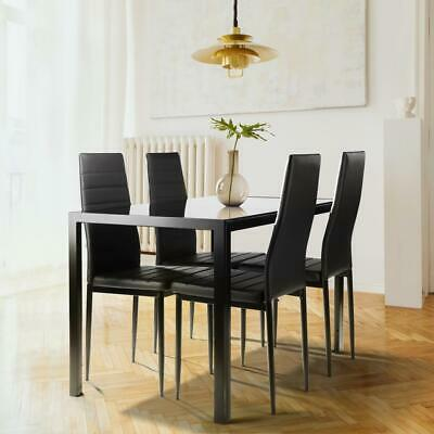 $179.90 • Buy Family 5 Piece Dining Table Set 4 Chairs Glass Metal Kitchen Room Breakfast