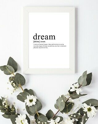 £4.50 • Buy Typography Print A4 Dream Dreaming Love Define Quote Gift Bedroom Dreamer