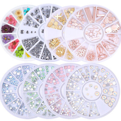 Glitter Gems 3D Nail Art Rhinestones Acrylic Tips Sticker Decorations DIY Decals • 3.39£