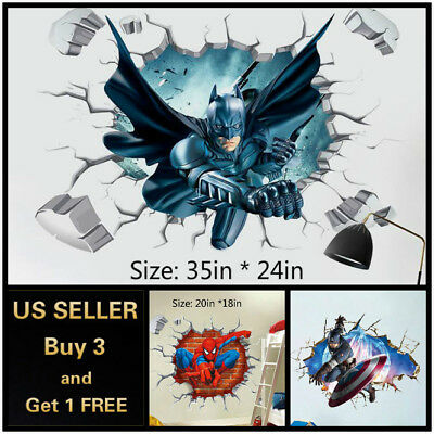 $9.99 • Buy US 3D Wall Stickers Superhero Kids Cartoon Room Decal Wallpaper Removable