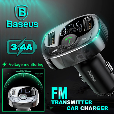 AU24.99 • Buy Baseus Handsfree Wireless Bluetooth 4.2 FM Transmitter Car Kit Dual USB Charger