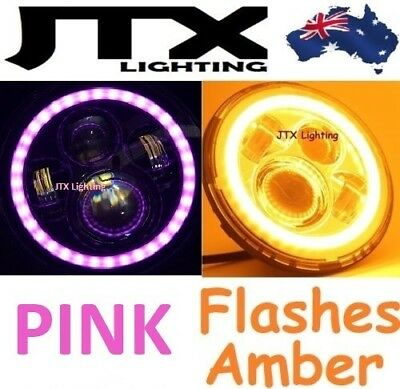 AU375 • Buy 1pr 7  JTX LED Headlights PINK Halo Flash Amber Ford Bronco F100 F150 F250 F350