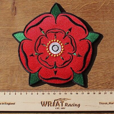 Motorcycle Biker Jacket Cafe Racer Cloth Patch RED ROSE Of LANCASHIRE 16CM 6in • 6.95£