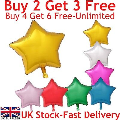 £0.99 • Buy 18  Star Shape Foil Balloons For Party Wedding Birthday Float With Helium UK