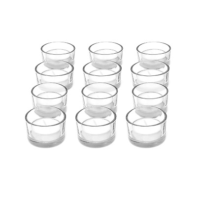 £6.99 • Buy Set Of 12 Circle Tea Light Candle Holders Modern Clear Glass Design M&W