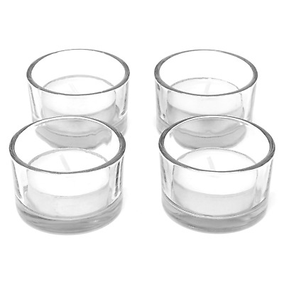 £7.79 • Buy Set Of 12 Circle Tea Light Candle Holders Modern Clear Glass Design M&W