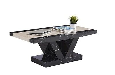 £160 • Buy Marble Effect Coffee Table In Black And Brown Solid MDF Coffee Table -not Marble