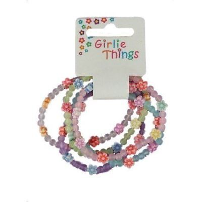 Pack Of 5 Girls Frosted Daisy Flowers And Beads Bracelets Bangles • 2.39£