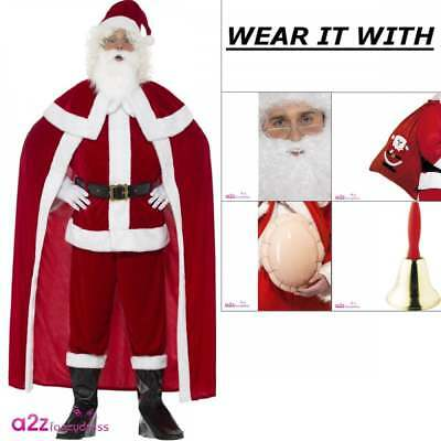 Mens Deluxe Santa Claus Costume Adult Father Christmas Xmas Fancy Dress Outfit • 56.95£