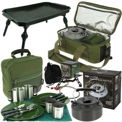Fishing Brew Bag Cooking Set With Gas Stove Kettle Cutlery Bag Ngt Tackle • 79.60£