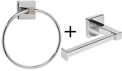 £8.99 • Buy Toilet Roll Stand & Towel Ring Set Chrome Wall Mounted Bathroom Storage