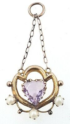 £102.01 • Buy 9K Edwardian Pendant Set With A Heart Shaped Amethyst & 3 X Seed Pearls