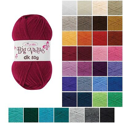 BIG VALUE DK Wool By KING COLE * Knitting Yarn * Various Colours * 50g * • 1.15£