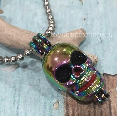 AU12.95 • Buy Skull Aromatherapy Diffuser Necklace Essential Oil Lava Rock