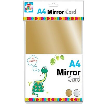 8 X A4 SHEETS GOLD & SILVER MIRROR CARD METALLIC SHINY THICK BOARD CRAFT PVO • 2.99£