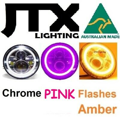 AU375 • Buy 7  JTX CHROME LED Headlights PINK Amber Ford Bronco F100 F150 F250 F350 Pick Up